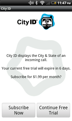 City ID software soliciting a paid subscription