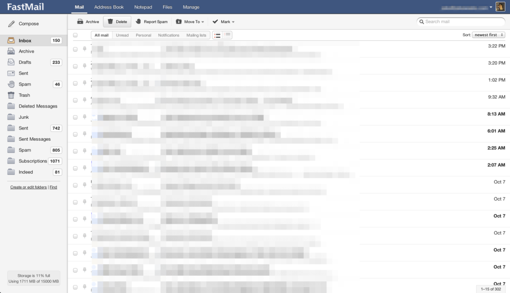 FastMail's clean web inbox