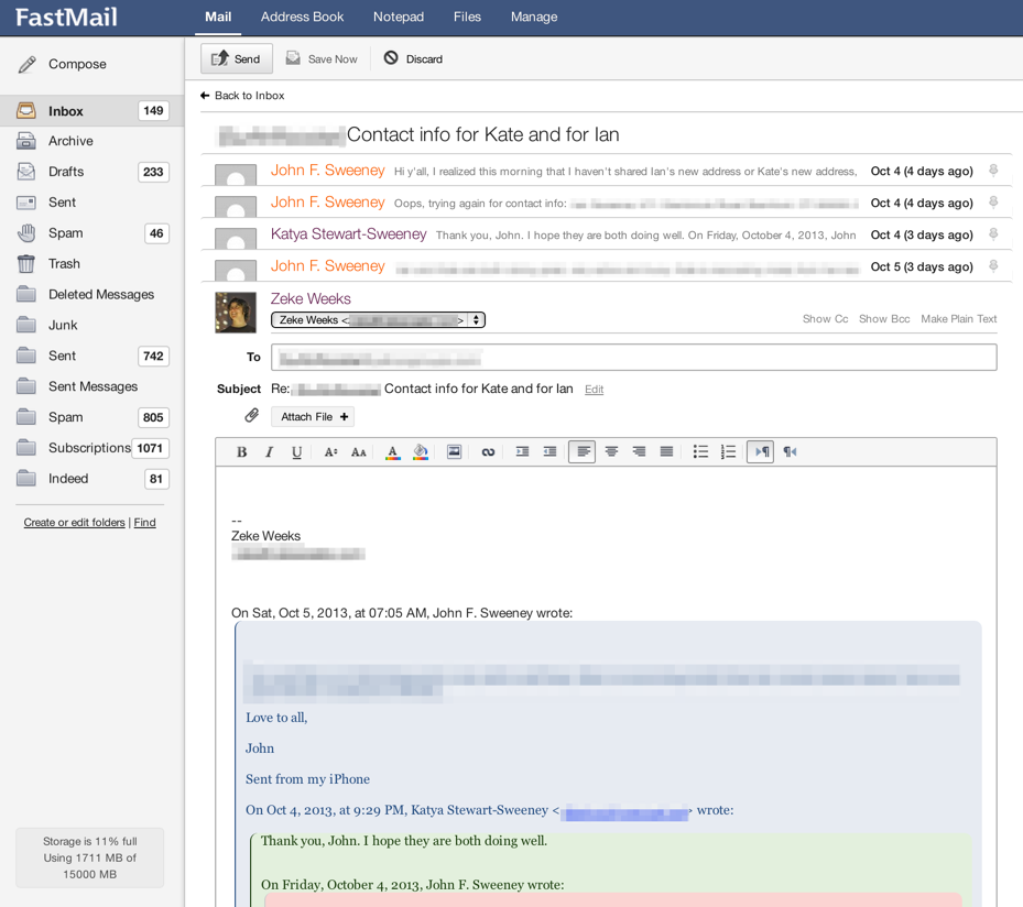 FastMail's interface for viewing conversation threads and replying inline